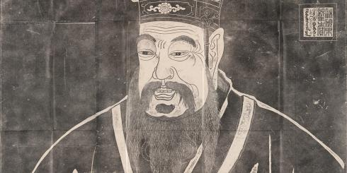 Rubbing from a stele depicting Confucius in the center.