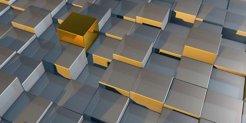 Silver and gold cubes