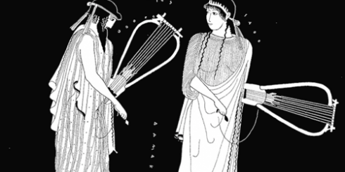 Greek figures with lyres.