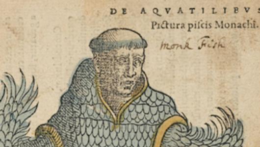 A printed illustration of a man with bird-like arms.