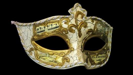 White and gold opera mask