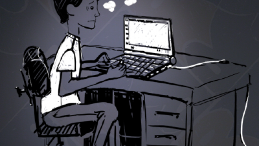 "Young man sitting at desk with computer and a thought bubble saying, ""What did that code do?"""