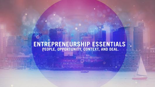 "An image of a city with the text ""Entrepreneurship Essentials: People, Opportunity, Context, and Deal"""