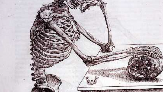 Drawing of a human skeleton standing at a desk and placing a skeletal hand on what appears to be a skull