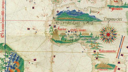 Earliest surviving map showing Portuguese geographic discoveries in the east and west.