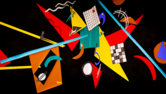 Black background with red, yellow, blue, and white geometric shapes arranged asymmetrically.