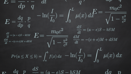 Calculus equations written on a blackboard