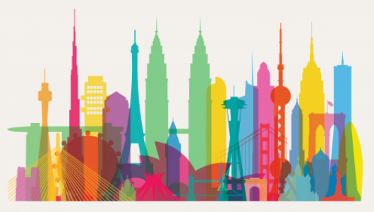 Multi-colored silhouettes of famous city structures such as the Eiffel Towel and the Space Needle