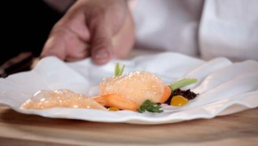 A cooked carrot covered with carrot foam on a white plate